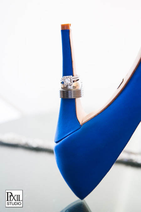 blue wedding shoes and rings
