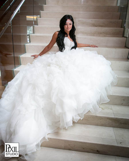 bridal portrait stairs