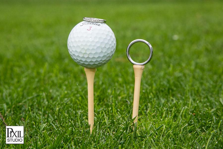 golf balls wedding rings