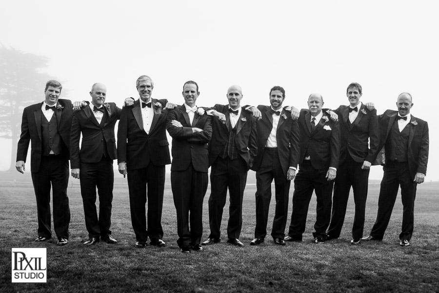 pebble beach wedding groomsman group shot